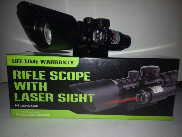 Jual telescope senapan angin m9 rifle scope with laser sight ary