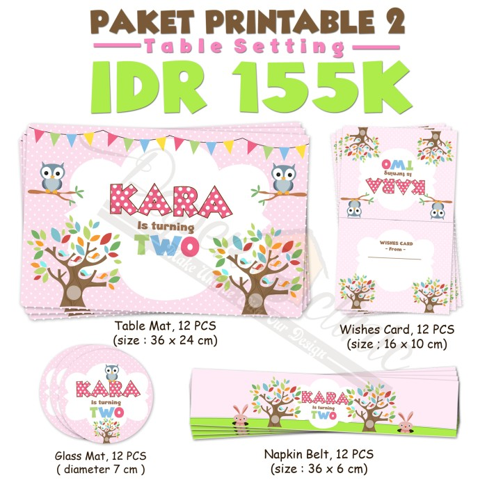 picture relating to Printable Party identify Jual Desk atmosphere printable ,celebration offer - Kab. Semarang - PaperClinicCreative Tokopedia