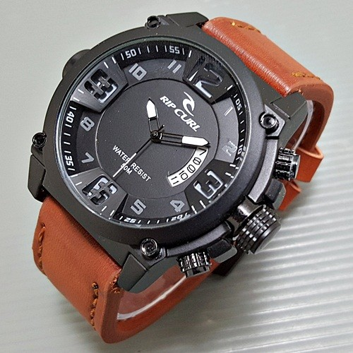 Jam tangan pria / cowok ripcurl surfer leather light brown