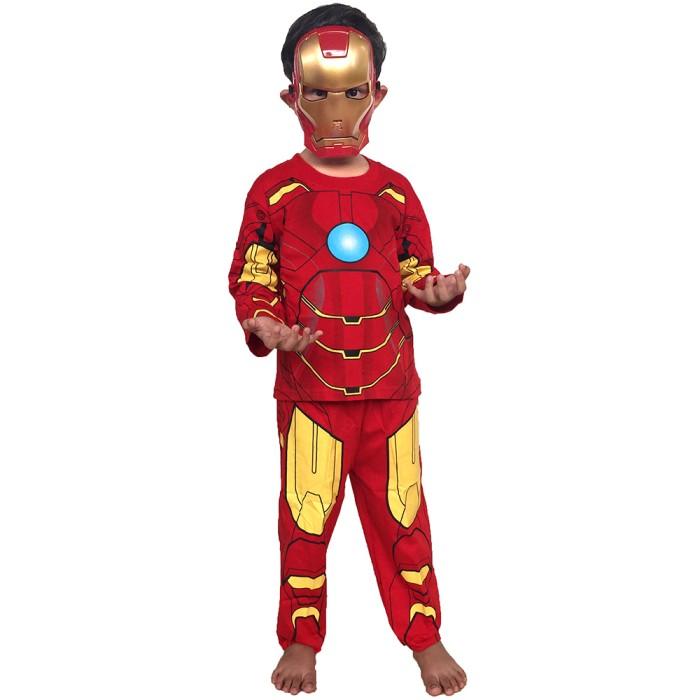 Baju anak kustom topeng superhero ironman