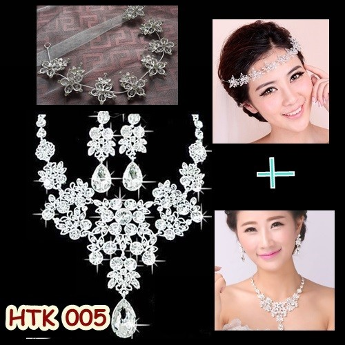harga Paket aksesoris pesta wedding l tiara rambut l kalung pengantin-htk005 Tokopedia.com
