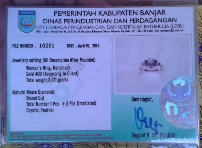 Jual Contoh Memo Cincin Berlian Lpsb Kota Banjarbaru Rahayu Jewellery Tokopedia