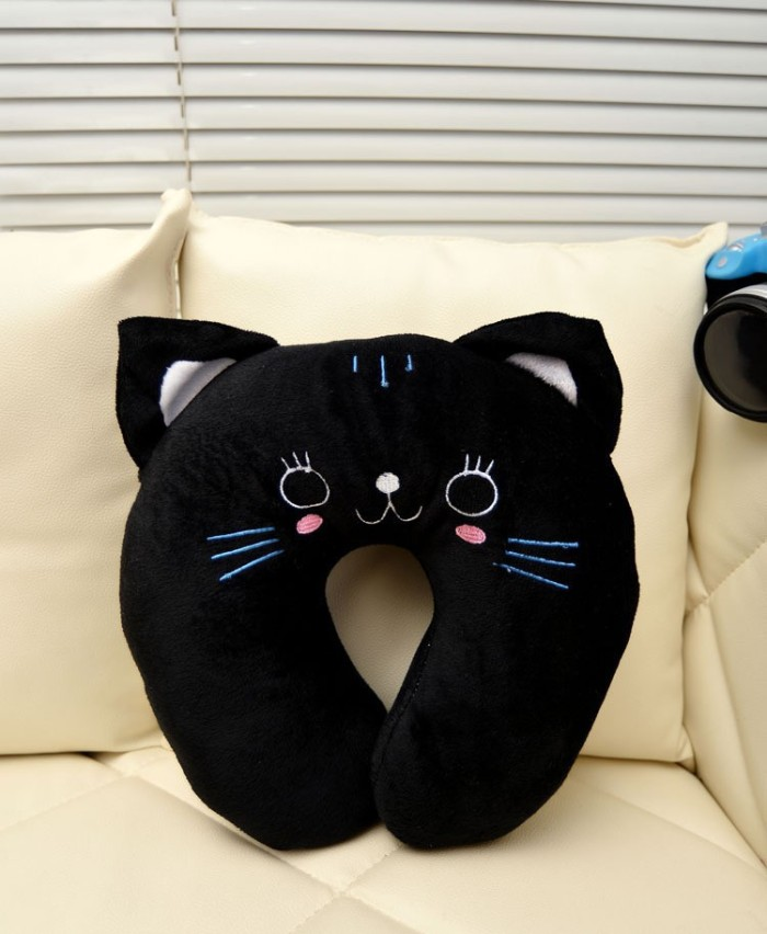 Jual Bantal Leher Karakter Kucing Hitam Black Cat Neck Pillow