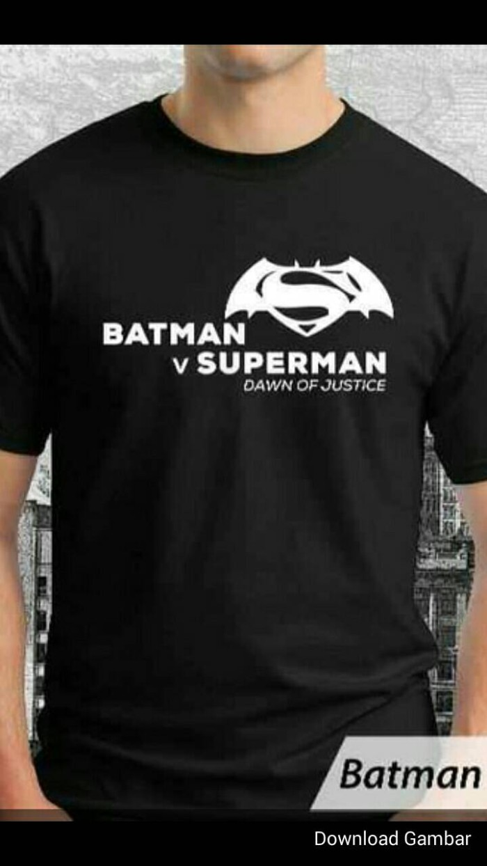 harga Kaos/baju/t-shirt/oblong batman vs superman black Tokopedia.com