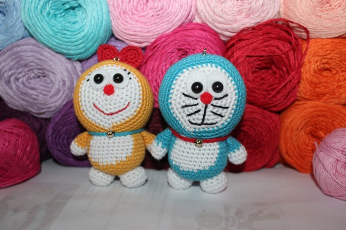 Amigurumi Boneka : Jual amigurumi boneka rajut doraemon dan dorami couple kasha