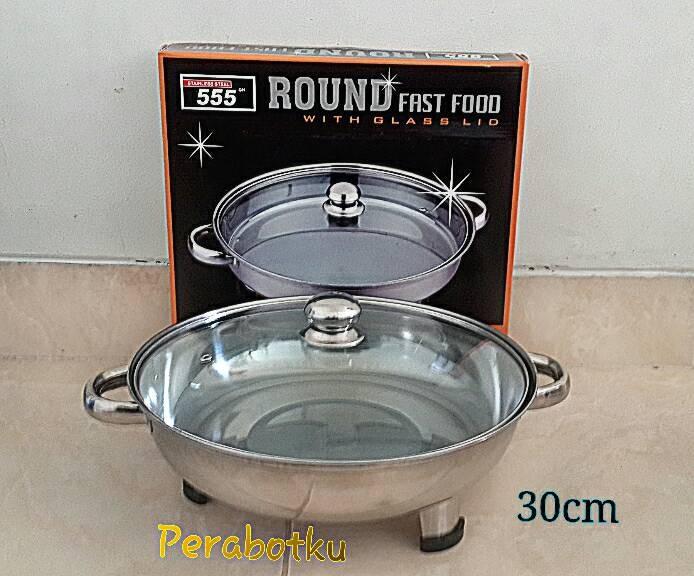 ... harga Fast food 555 bulat round wadah tempat saji prasmanan tutup kaca 30cm Tokopedia.com