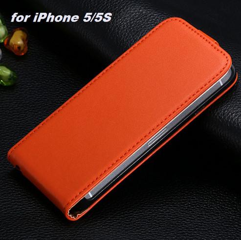 harga Vertical leather flip case magnet iphone 5 (orange brownish) Tokopedia.com