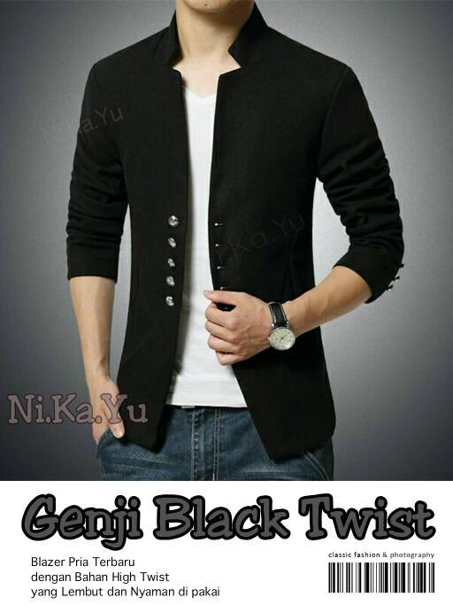 harga Blazer genji black - blazer pria slimfit model terbaru Tokopedia.com