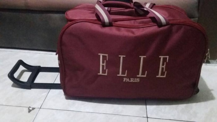 Tas Travel Bag Trolley ELLE PARIS Merah Maroon Murah Berkualitas 4461160bf4