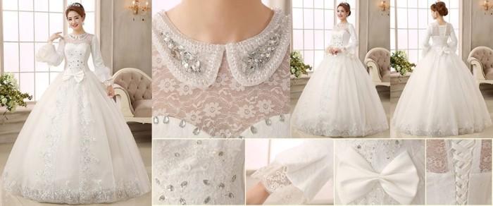 Jual Gaun Pengantin Wedding Dress Import Lengan Panjang Modern