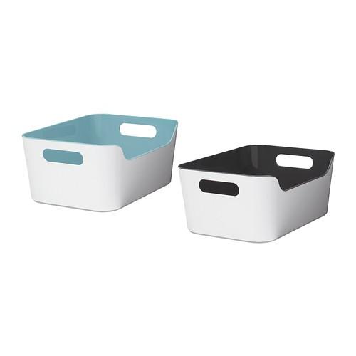 Ikea variera kotak serbaguna 24x17 cm biru muda / hitam