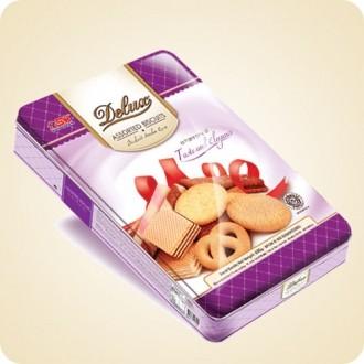 Delux Assorted Biscuit Sqr Tin 650 Gr Biskuit Kaleng Lebaran