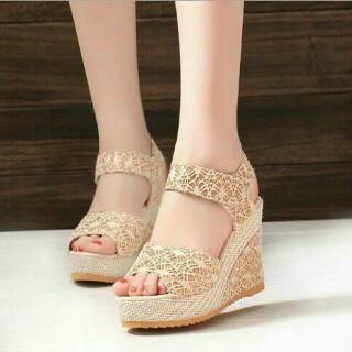 harga Sandal wanita wedges brukat   sepatu sendal cewek Tokopedia.com