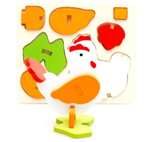 harga Puzzle patung kayu 3d mainan edukatif anak - ayam cock pc007 Tokopedia.com