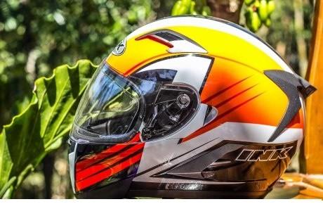 Helm INK Duke Full Face Fullface Black White Orange Visor 1