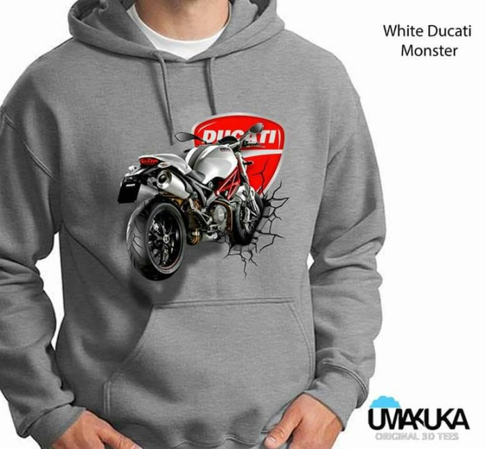 harga Sweater 3d / hoodie 3d umakuka - white ducati monster Tokopedia.com