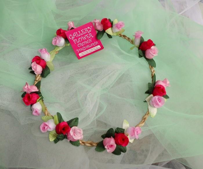 Classic Pink Budroses Flowercrown / Flower Crown / Bando Bunga