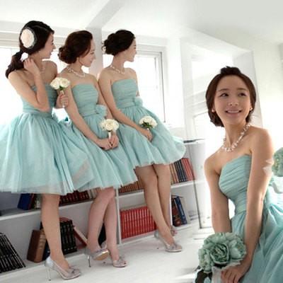 Jual Gaun Pesta Pendek Warna Hijau Model Simple Gaya Korea Crystal