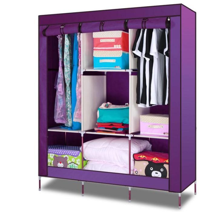 Aiueo lemari pakaian multifungsi 2 gantungan - ungu