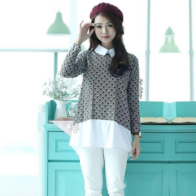 Jual Baju Anna Collar Baju Casual Wanita Dress Korea Asstive