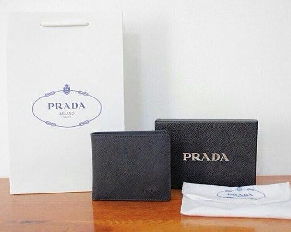 56ba32f5c4b7fd ... wholesale jual prada saffiano mens wallet navy blue mirror quality  fc65c bdaa7