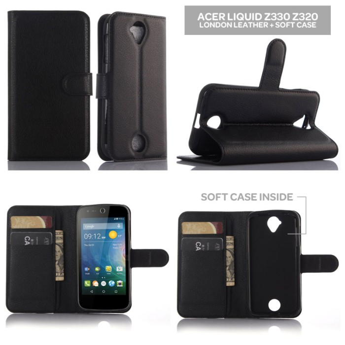harga London leather soft flip cover case dompet kulit acer liquid z330 z320 .