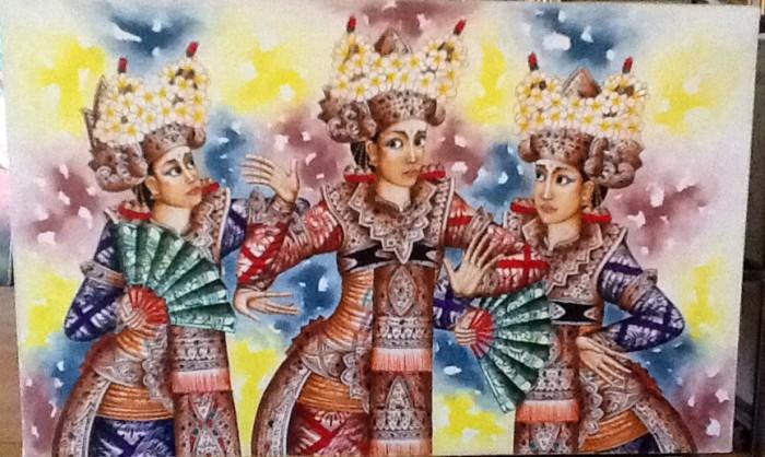 harga Lukisan penari legong bali (3 tari legong bali) 135x85 kanvas saja Tokopedia.com