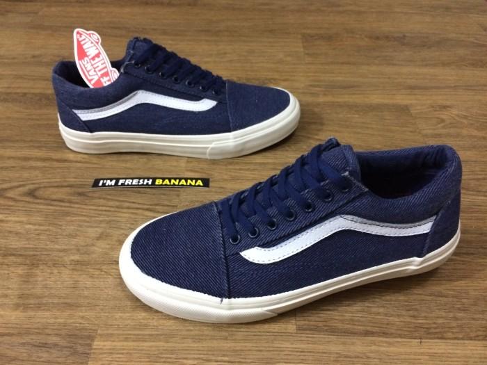 Sepatu Vans Old Skool Mono Navy Blue IFC Premium oldskool biru denim