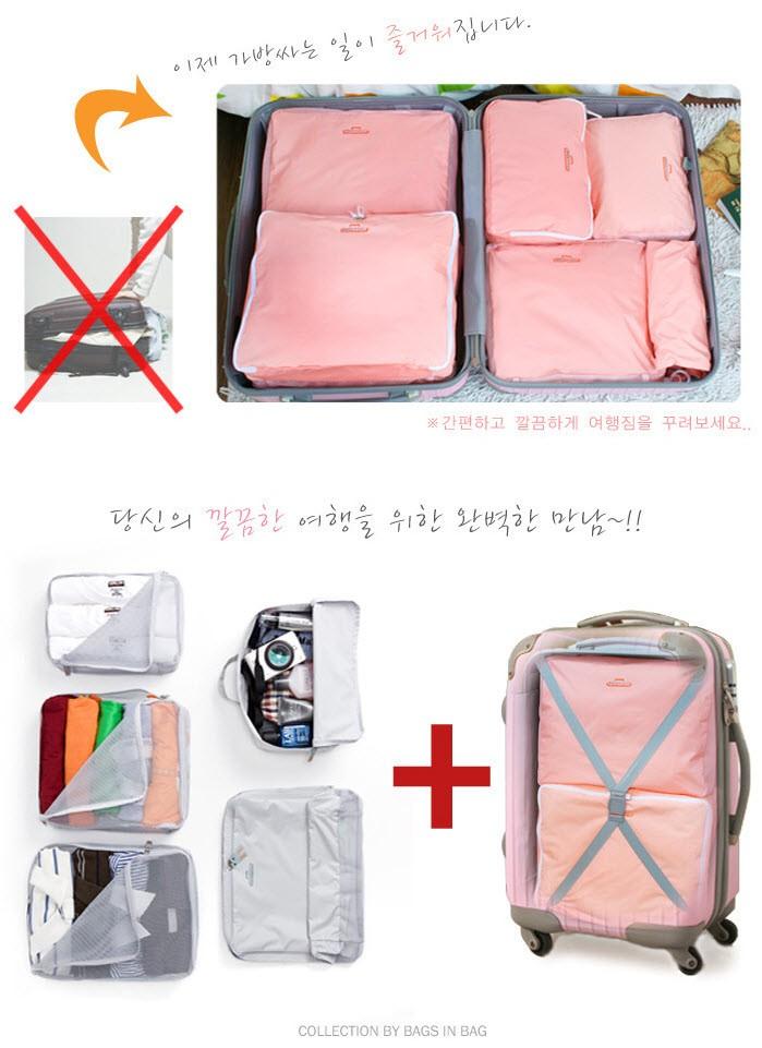 Lynx Travel Pouch 5 in 1 Bag in Bag Organizer Storage Tas Koper Lipat - Merah