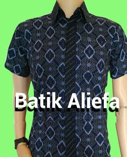 harga Kemeja hem batik pria kripik tempe biru batik pekalongan Tokopedia.com