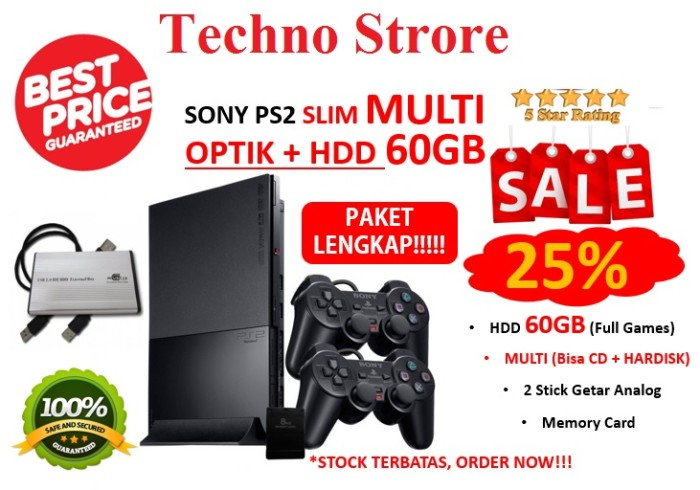 harga Sony playstation 2 multi slim hardisk 60gb + optik + paket full - ps 2 Tokopedia.com