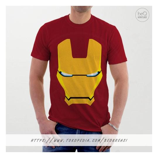 Kaos tshirt maroon topeng iron man superhero the avengers civil war