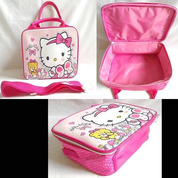 Tas Travel Bag Spons Kecil Hello Kitty Kupu Pink / Koper Anak Mini