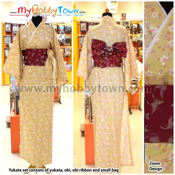 harga Yukata/kimono wanita : yellow sakura Tokopedia.com