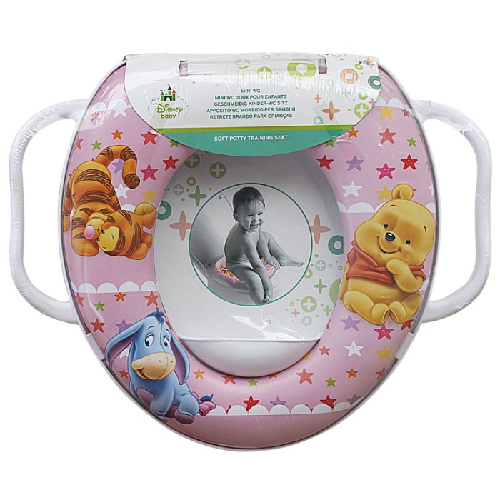 Soft Baby Potty Seat With Handle Karakter Pooh Pink -Toilet Training