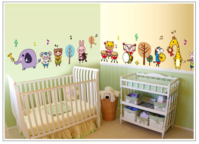 jual wallsticker/wall stiker-50x70-ay7155-animal band kid - kota
