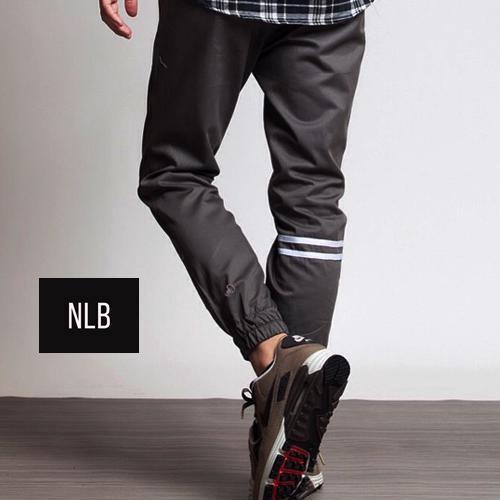 Celana joger panjang ukuran besar abu strip   jogger pants grey stripe