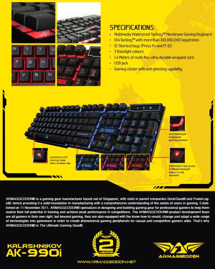 Keyboard Gaming Armageddon AK 990i Semi Mechanical