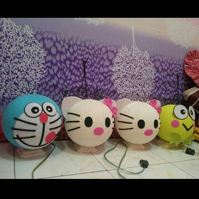 harga Lampu tidur keropi / hello kitty / dora emon / lampion benang Tokopedia.com