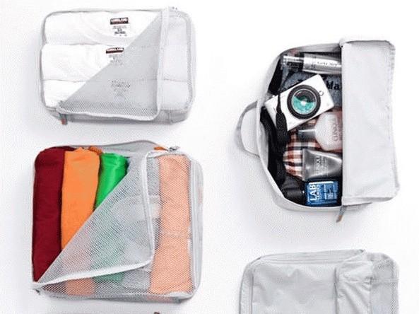 5 in 1 bags in bag travel ( dpt 5 bag ) organizer tas set koper - Abu -abu Tua