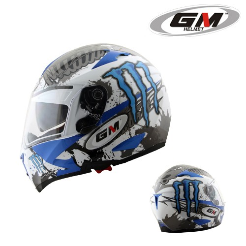 harga Helm gm airborne full fullface airbone visor monster blue Tokopedia.com