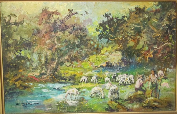 Jual Lukisan Gembala Domba Oil On Canvas Kota Tangerang Toko Tkt