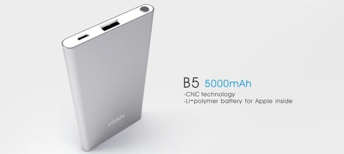 ViVAN Powerbank B5 5000mAh Original 1.5A Ultra Slim Design for iPhone6