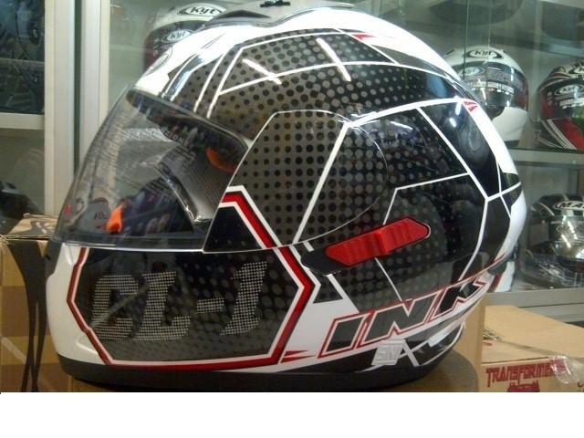 Helm INK CL-1 Hexagon Full Visor Fullface CL1 Black White Red Carbon 2