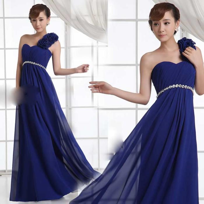 Jual Gaun Pesta Panjang Warna Navy Blue Model 1 Lengan Longdress
