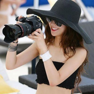 Topi Pantai 02067F Black Hitam Floppy Hat Topi Lebar Beach Hat