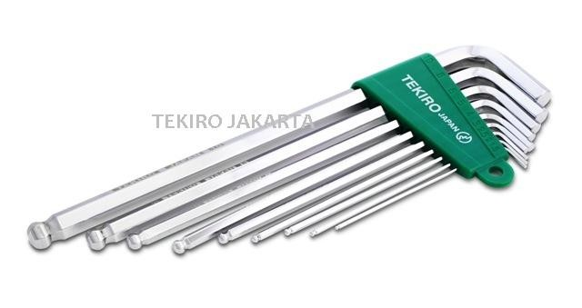 Tekiro Kunci L Ball Point Panjang - Hex Key Long Set 9 pcs 1.5 - 10 mm