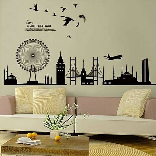 jual wall sticker / wall stiker / stiker dinding siluet city jm7279