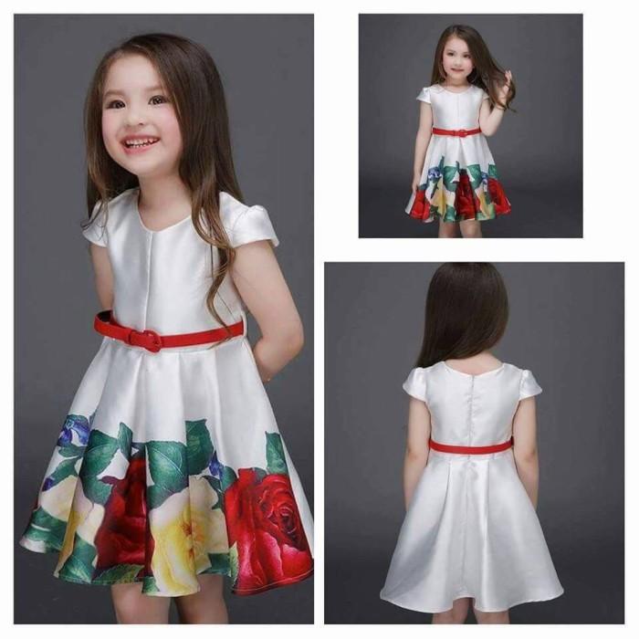 Jual Baju Pesta Anak Remaja Bunga Putih Simple Dress Kab Sidoarjo