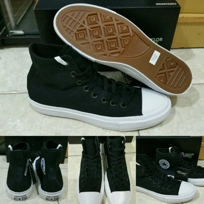 Jual Sepatu Converse All Star Chuck Taylor 2 Lunarlon High Black ... aa9a50369a